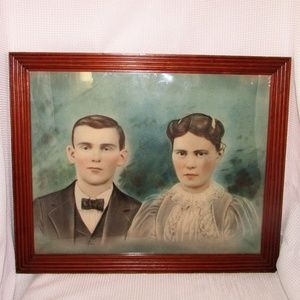Antique Chalk Painting Portrait from 1898